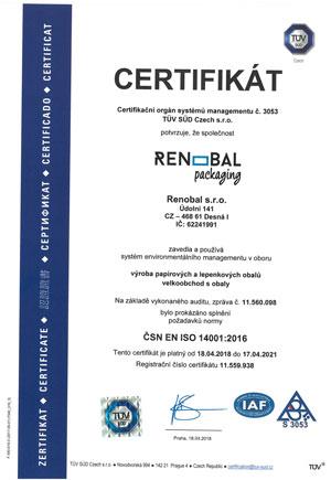 Renobal s.r.o. - Certifikát 14001:2006