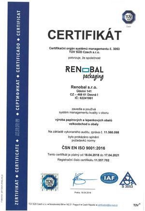 Renobal s.r.o. - Certifikát 9001:2006